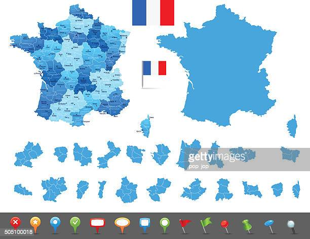 map of france - states, cities and navigation icons - nice france stock illustrations, clip art, cartoons, & icons