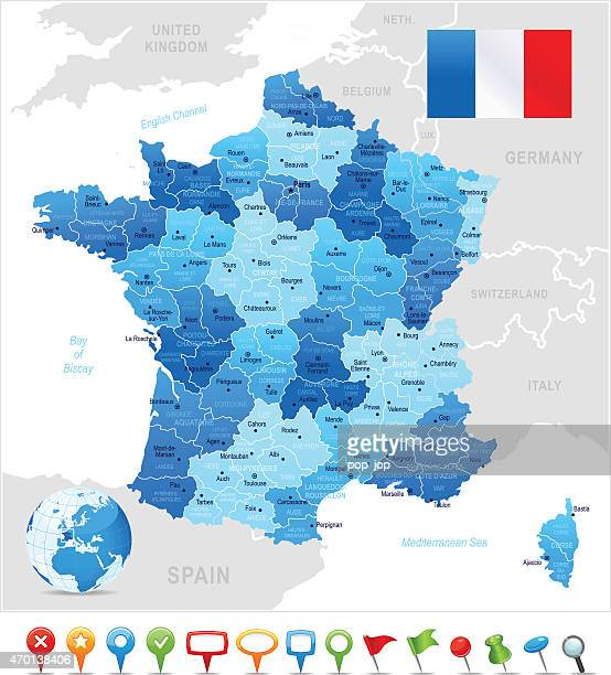map of france - toulouse stock illustrations, clip art, cartoons, & icons