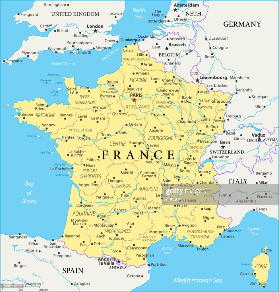 Map Of France Vector Vector Art Getty Images