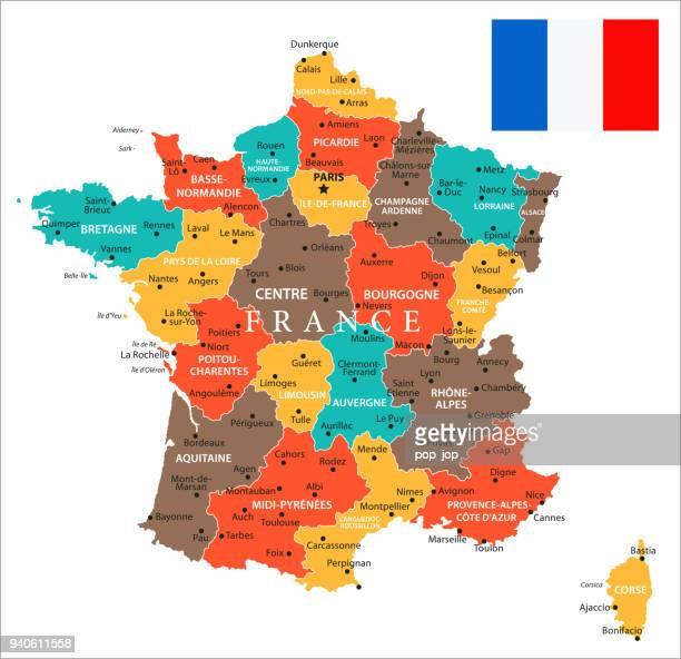 フランス - ベクトルの地図 - エロー点のイラスト素材/クリップアート素材/マンガ素材/アイコン素材