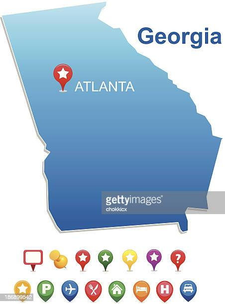 map of georgia state with gps pins - atlanta stock illustrations, clip art, cartoons, & icons
