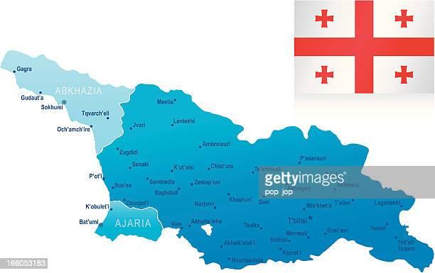 karte von georgia-staaten, städte und flagge - flagge von georgien stock-grafiken, -clipart, -cartoons und -symbole