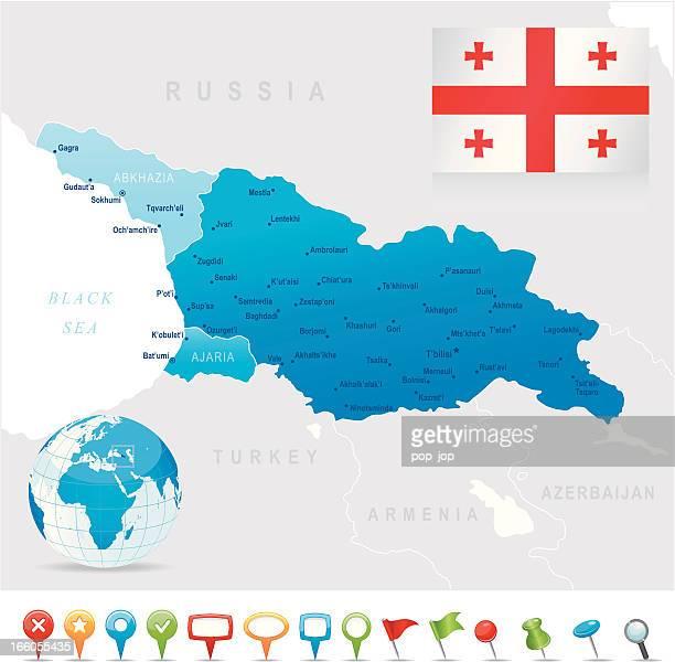 karte von georgia-staaten, städte, flagge und symbole - flagge von georgien stock-grafiken, -clipart, -cartoons und -symbole