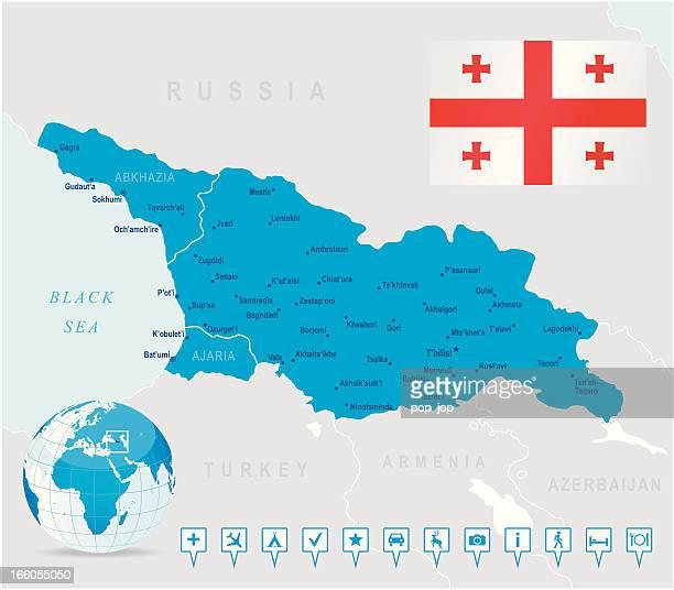 karte von georgia-staaten, städte, flagge, navigation symbole - flagge von georgien stock-grafiken, -clipart, -cartoons und -symbole