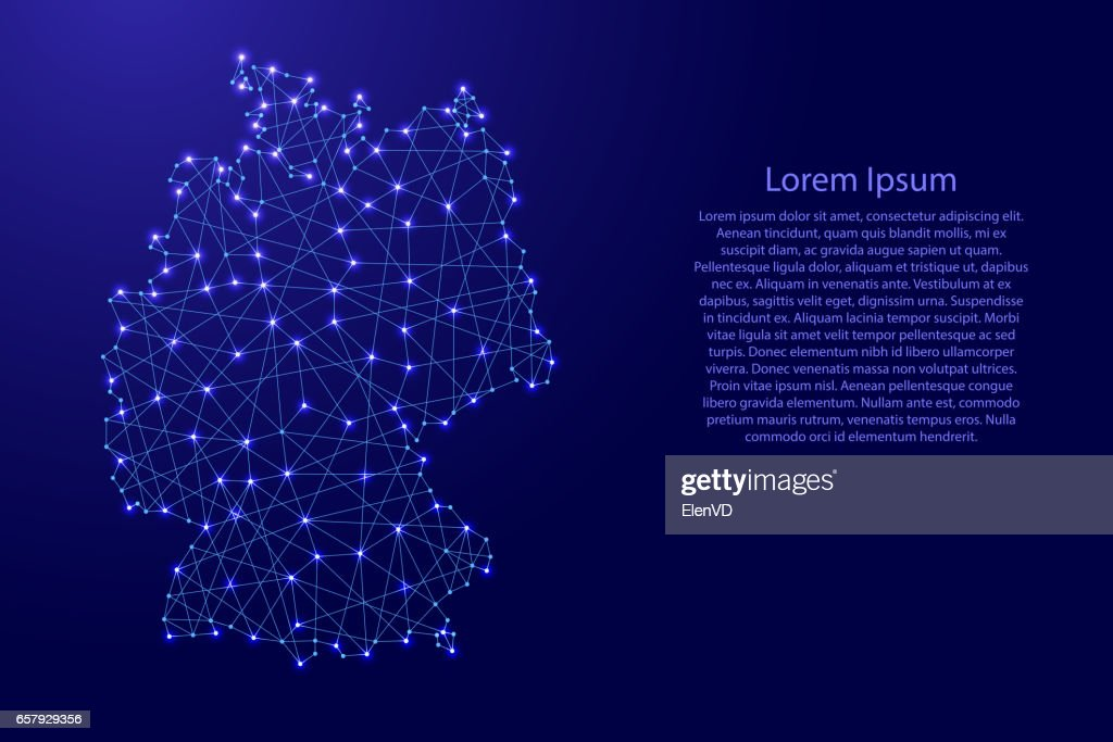 Map of Germany from polygonal blue lines and glowing stars vector illustration