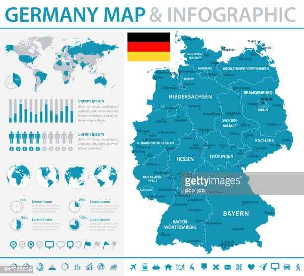 map of germany - infographic vector - germany stock illustrations, clip art, cartoons, & icons