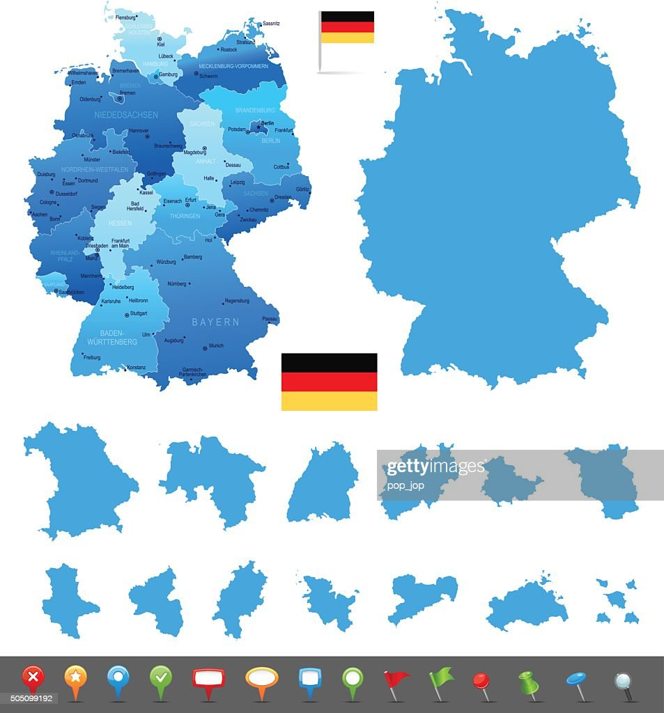 map of germany states cities and navigation icons vector art