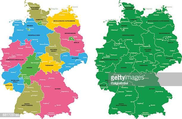 karte von deutschland - hessen deutschland stock-grafiken, -clipart, -cartoons und -symbole