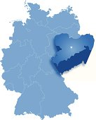 Map of Germany where Saxony is pulled out