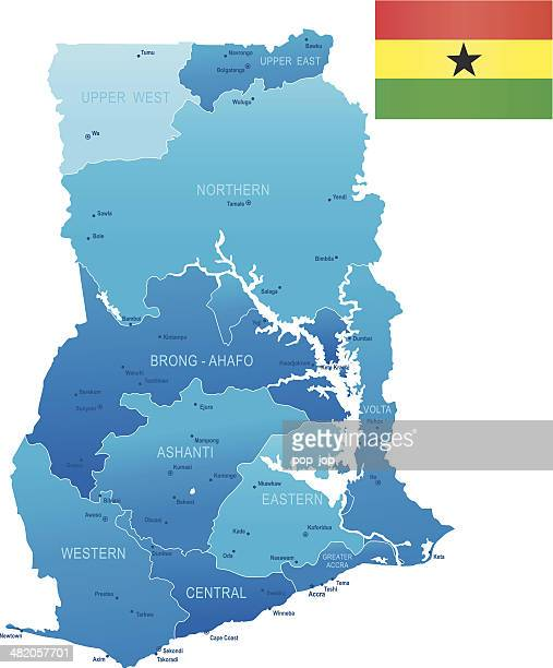 map of ghana - states, cities, flag and icons - accra stock illustrations, clip art, cartoons, & icons