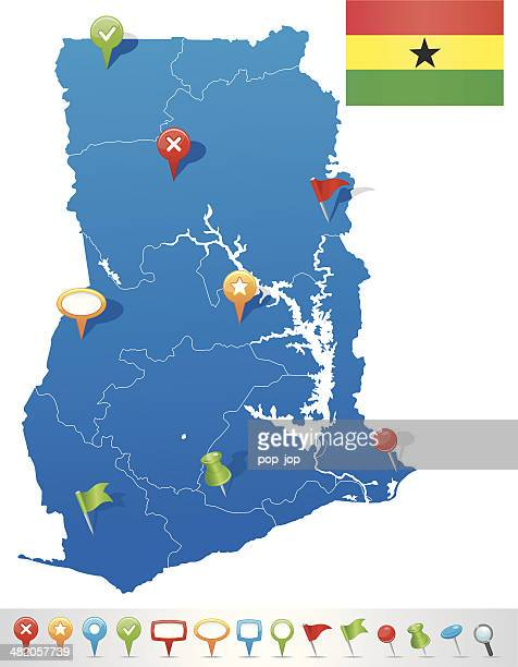 map of ghana with navigation icons - ghana flag stock illustrations, clip art, cartoons, & icons