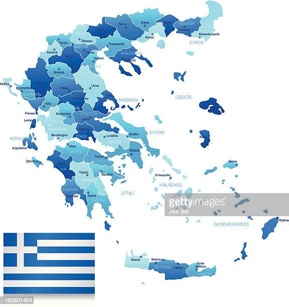 map of greece - states, cities and flag - greek islands stock illustrations, clip art, cartoons, & icons