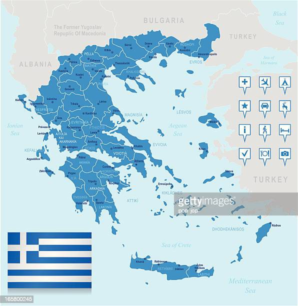 map of greece - states, cities, flag, navigation icons - sparta greece stock illustrations, clip art, cartoons, & icons