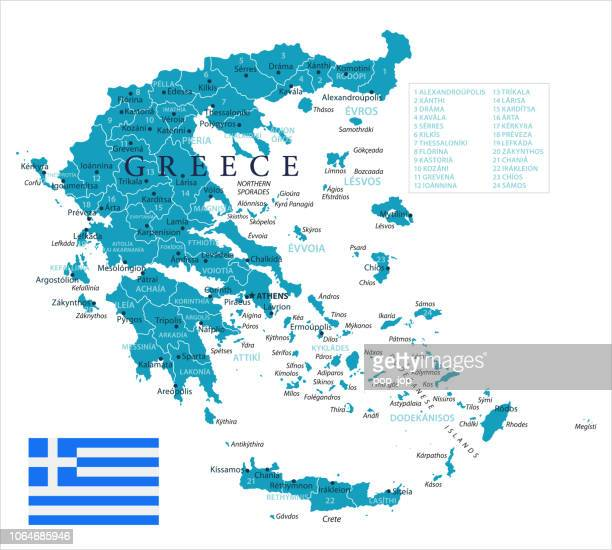 map of greece - vector - greece stock illustrations