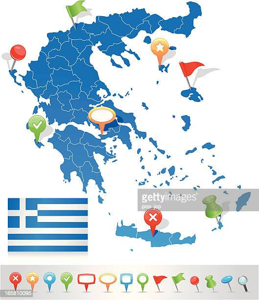 map of greece with navigation icons - greek islands stock illustrations, clip art, cartoons, & icons