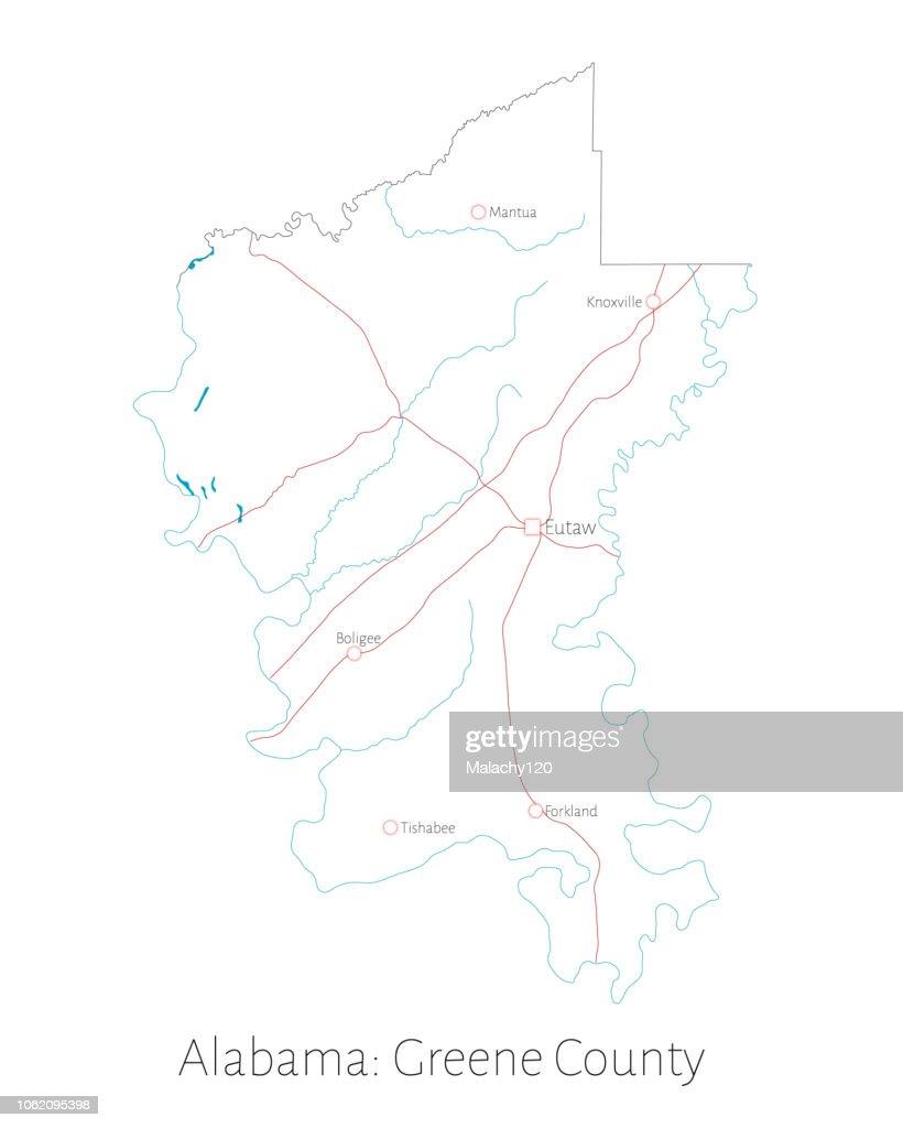 Map of Greene county in Alabama