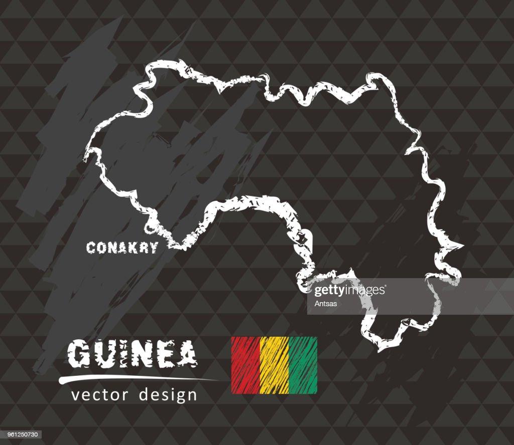 Map of Guinea, Chalk sketch vector illustration