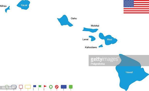 map of hawaii - kailua stock illustrations