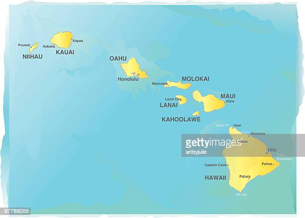 map of hawaii - watercolor style - honolulu stock illustrations