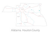 Map of Houston county in Alabama