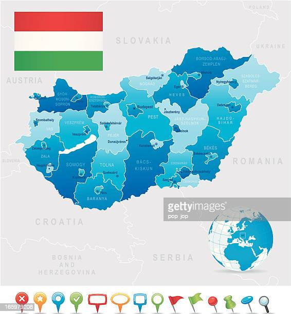 Map of Hungary - states, cities, flag and navigation icons