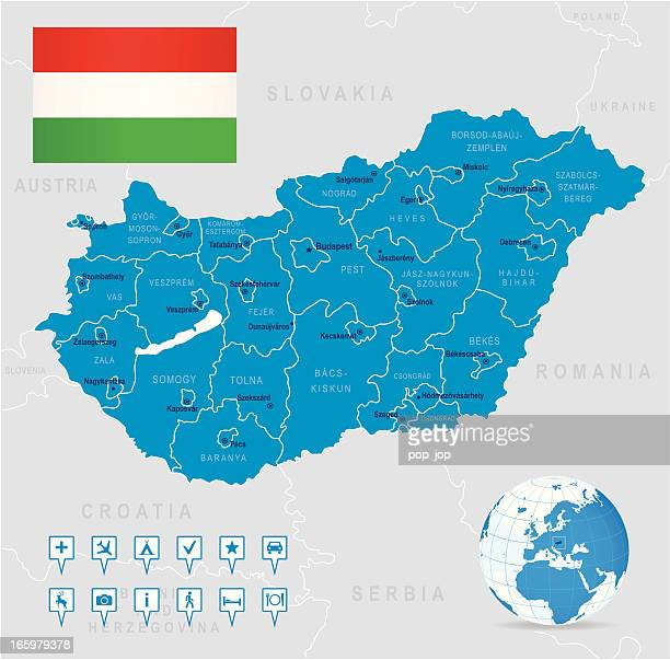 Map of Hungary - states, cities, flag, navigation icons