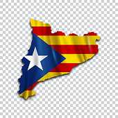 Map of independent Catalonia. Catalan nationalist flag. Flag of the socialist movement of Catalonia. Vector flag. Isolated object. Vector illustration