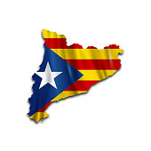 Map of independent Catalonia. Catalan nationalist flag. Flag of the socialist movement of Catalonia. Isolated object. Vector flag. Vector illustration