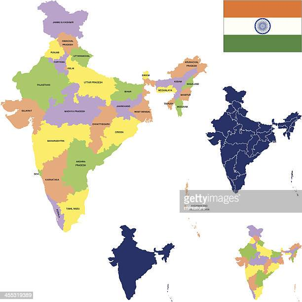 a map of india and its surrounding areas - punjab india stock illustrations