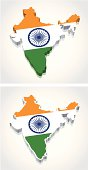 3D Map of India Flag