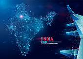 Map of India. Floating blue plexus geometric background. Creative abstract vector illustration. High tech, communications and travel.