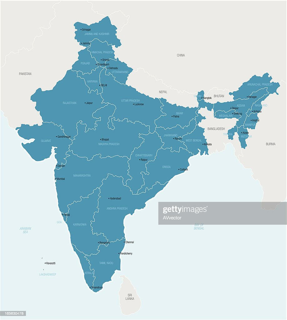 Map of India showing provinces