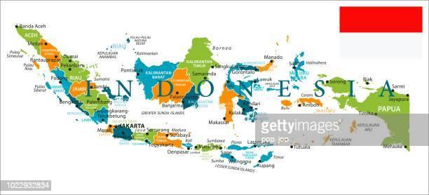 illustrazioni stock, clip art, cartoni animati e icone di tendenza di mappa dell'indonesia - vettore infografico - provincia di giava orientale