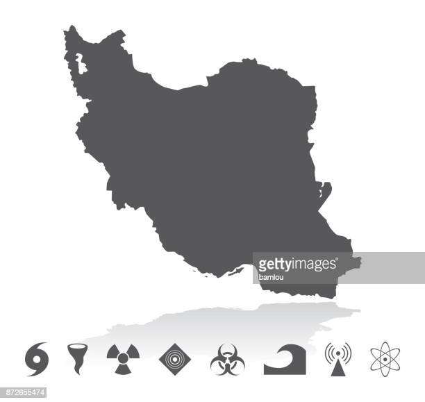 Map of Iran Disaster Icons Set