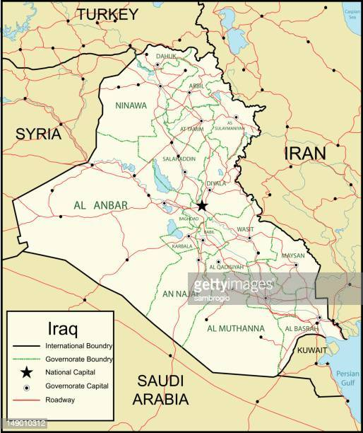 map of iraq - ninawa stock illustrations