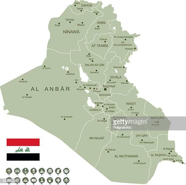illustrations, cliparts, dessins animés et icônes de carte de l'irak. - irak