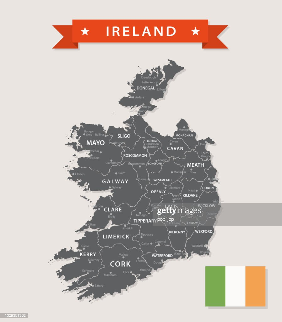 Map Of Ireland Vector.Map Of Ireland Vintage Vector Stock Illustration Getty Images