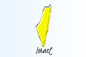 Map of Israel, halftone abstract background. drawn border line and yellow color