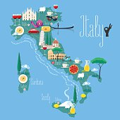Map of Italy vector illustration, design. Icons