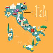 Map of Italy vector illustration, design. Icons with Italian landmarks
