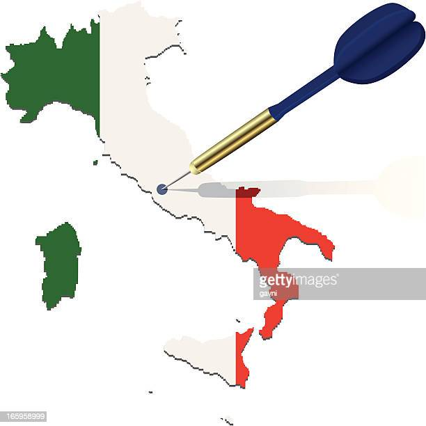 map of italy with dart - corsica stock illustrations, clip art, cartoons, & icons