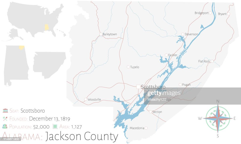 Map of Jackson County in Alabama