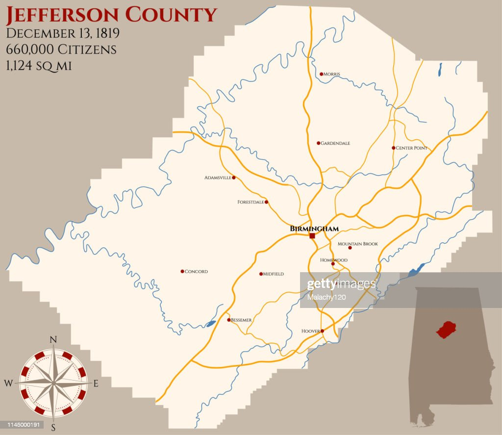 Map of Jefferson County in Alabama