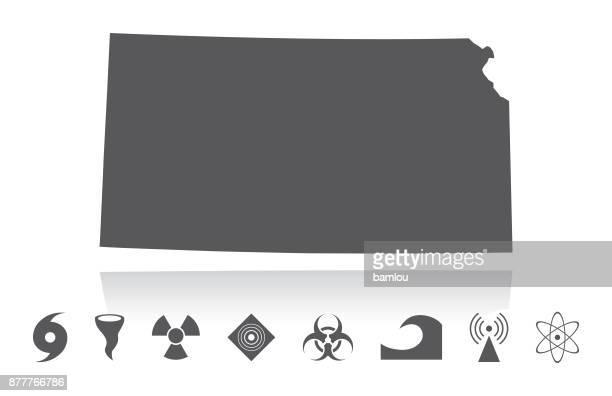 karte von kansas katastrophe icons set - kansas stock-grafiken, -clipart, -cartoons und -symbole