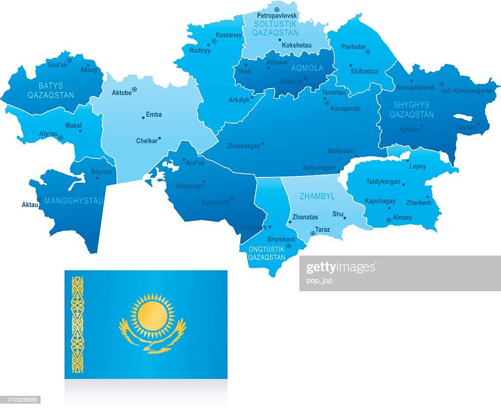 Map Of Kazakhstan States Cities And Flag stock ...