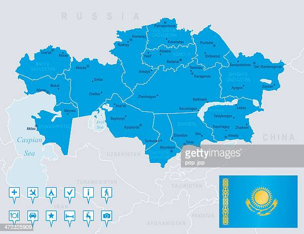 map of kazakhstan - states, cities, flag, navigation icons - kazakhstan stock illustrations