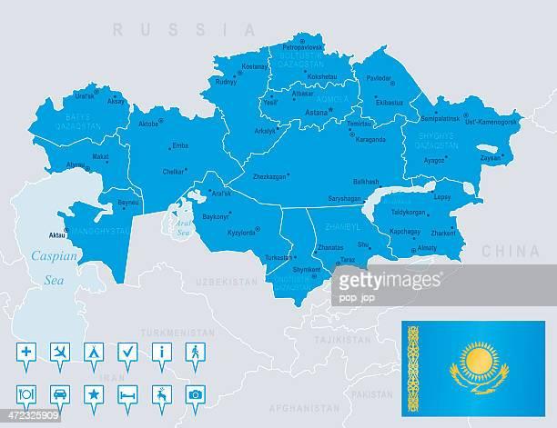 map of カザフスタン-国、都市、国旗、ナビゲーションアイコン - カザフスタン点のイラスト素材/クリップアート素材/マンガ素材/アイコン素材