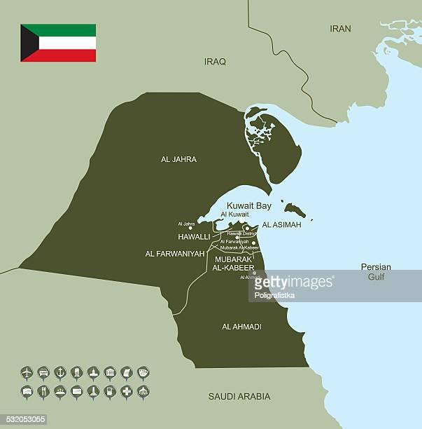 map of kuwait - kuwait stock illustrations, clip art, cartoons, & icons