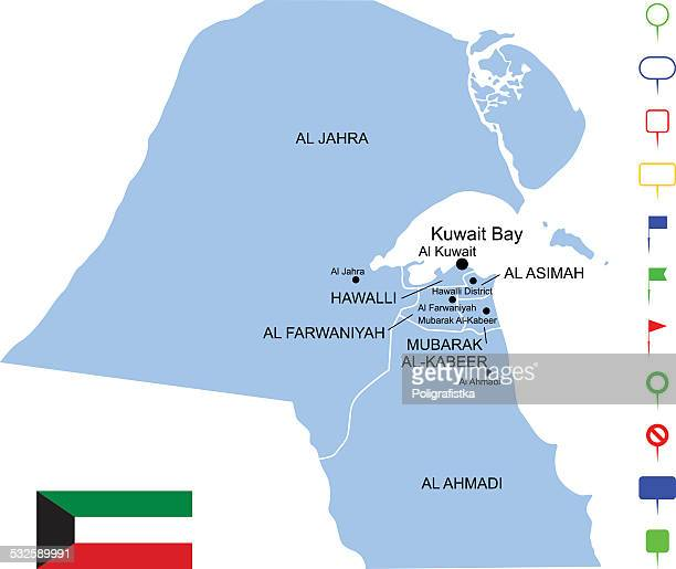 map of kuwait - intricacy stock illustrations