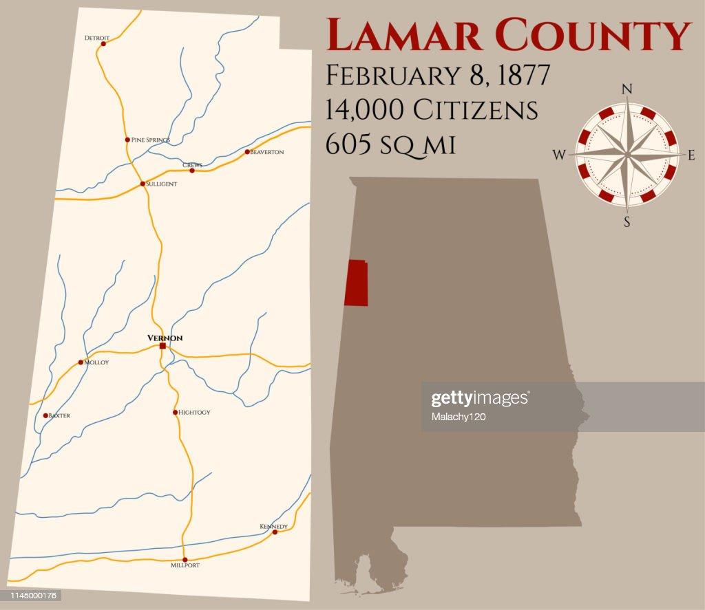 Map of Lamar County in Alabama